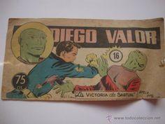 COMIC DIEGO VALOR, Nº 16, DE LA COLECCION ORIGINAL DEL AÑO 1954. NO COPIA.