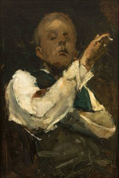 George Hendrik Breitner (Dutch, 1857-1923), Self-Portrait, 1882. Oil on canvas, 30 x 40 cm. Museum Boijmans Van Beuningen, Rotterdam. source