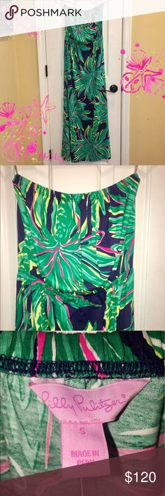 NWT Lilly Pulitzer Dress🌴Tiger Palm🌴Marlisa Maxi Possibly Open to trades for more Lilly (for myself or my daughters). NWT sz Small Lilly Pulitzer Dress🌴Tiger Palm🌴Marlisa Maxi colors are vibrant and dress is stunning! Dress it up or dress it down! The palms are green, pink, and yellow. Navy background. Looking to sell or trade for a medium! Lilly Pulitzer Dresses Maxi