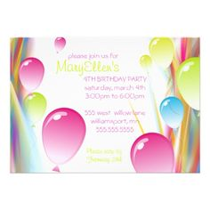 Birthday Party Invitations with Balloons.  $1.95