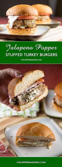 Jalapeno Popper Stuffed Turkey Burgers with Southwest Lime Sauce