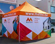 Vouwtent partytent plooitent easy up tent 4x4m met zijwanden digitaal bedrukt door Krekels.  http://www.krekels.net/plooitent