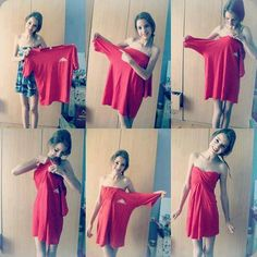 DIY Fashion: Turn an oversized t-shirt into a cute strapless dress.