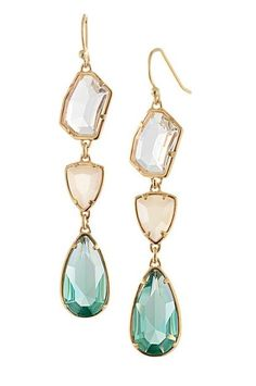 "Organic shaped teardrop earrings with clear and green gems in gold. 2.5"" long Nickel and lead free Glass, base metal Hook back"