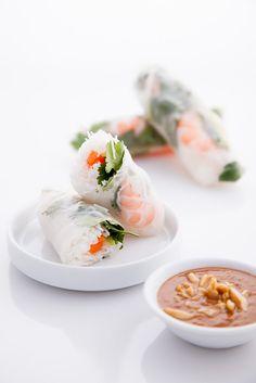Shrimp spring rolls using rice paper. Very much like popiah.