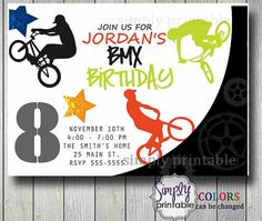 Extreme Biking BMX Boys Birthday Invitation by simplyprintable