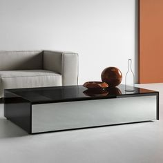 Ghotam smoked Glass Coffee table with 1 Drawer - Klarity - Glass Furniture Mirrored Coffee Tables, Coffee Table Rectangle, Round Coffee Table, Glass Furniture, Mirrored Furniture, Led Recessed Lighting, Modern Lighting, Contemporary Coffee Table, Contemporary Design
