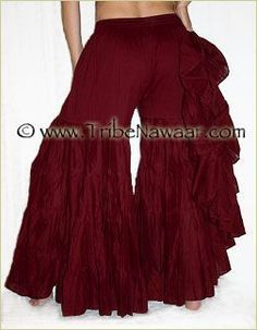 Tribe Nawaar Wine Tiered Pants Tribal Bellydance Ruffle Pants Gypsy Style Pants Flamenco Burgundy ATS Pant ITS Pants Renaissance Festival Tiered Ren Faire Pants Fluffy Bohemian Pants Premium Quality Burning Man
