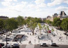 TVK has overhauled the Place de la République in Paris to create a pedestrian plaza including a new cafe pavilion, water features and over 150 trees. Landscape And Urbanism, City Landscape, Urban Landscape, Landscape Design, Design Plaza, Public Space Design, Public Spaces, Public Square, Public Realm