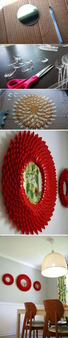 Un joli cadre de miroir à réaliser soi-même avec des cuillères en plastique, du carton et de la peinture.