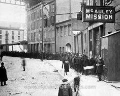Christmas Dinner Line at the McAuley Mission, 1905 The McAuley Mission, now the New York City Rescue Mission, was founded in 1872 by Jerry and Maria McAuley.
