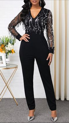 V Neck Long Sleeve Sequin Panel Jumpsuit Embellished Jumpsuit, Looks Plus Size, Jumpsuit Outfit, Jumpsuits For Women, African Fashion, Ideias Fashion, Fashion Dresses, Trendy Dresses, Fashion Clothes