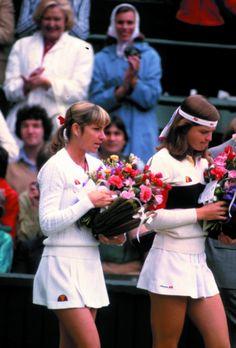 Chris Evert and Hana Madlikova, #tennis, 1980's