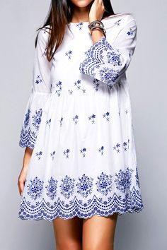 $24.26 Ethnic Style Round Neck Flare Sleeve High Waisted Retro Embroidery Dress For Women