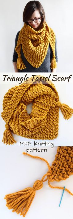 Free Easy Triangle Shawl Scarf Knitting Pattern By Brome Fields