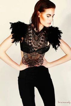 Steampunk jewelry Black feather textile statement collar corset top with epaulettes epaulets Burning Man Festival LIMITED EDITION on Etsy, $169.32 AUD