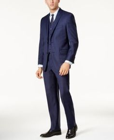 Michael Michael Kors Men's Big & Tall Classic-Fit Dark Blue Tonal Plaid Vested Suit - Blue