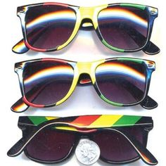 """Private Island Party  - Rasta Wayfarer Styles Vintage Sunglasses 7150, Feeling """"Dreadful""""? Listen to Some Bob Marley and get in the mood... Get into the mood of Jamaica.. and try on a pair of our Rasta style wayfarer sunglasses. You'll be jammin' in no time Mon!    Check out all other Rasta Styles - Mix up Your Rasta Style"""