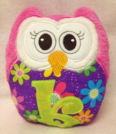 Owl with initial.  Great for cuddling, methinks.