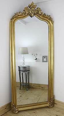 Nicoli ornate swept framed full length mirror all for Gold floor standing mirror