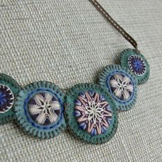 Felt Fabric Jewelry | Mystic green embroidered necklace by Natta on Etsy
