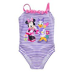 Minnie is joined by her fellow Happy Helper for a girls' day in the sun. Your little swimmer can join the fun in this striped one-piece swimsuit, accented with darling bow appliqués and featuring UPF 50+ protection.