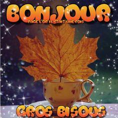 Bonjour, Gros bisous #bonjour feuille morte tasse automne chocolat chaud the cafe etoiles matin
