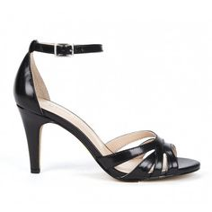 Open toe sandal in leather with ankle strap and cutout details.