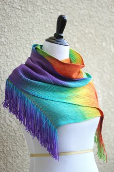 Hand woven rainbow scarf red green blue purple extra long scarf with fringe  Hand woven long scarf in rainbow col... #kgthreads #sellertools