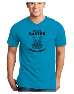 TooLoud Happy Easter Everybunny Adult V-Neck T-shirt