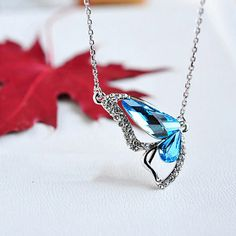 Delicate Blue Crystal Butterfly Wing Beaded Necklace
