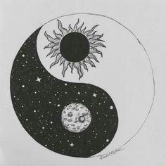 Yin and yang. Stars / sun / moon / drawing / art / sketch /