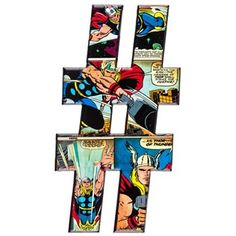 Marvel Superheroes Embossed Tin Symbol - # Hashtag Thor⎜Open Road Brands