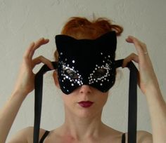 Blue velvet and Silver Star cat mask  Ready to ship by Mascherina, $125.00