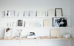 white display - Ikea's Ribba picture ledge would work for this with EKBY TRYGGVE  raw wood shelf and EKBY STÖDIS bracket in white || Rebecca Centren