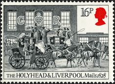 Royal Mail Postage Stamp from 1984 - the Holyhead and Liverpool Mails 1828 Airmail Envelopes, Uk Stamps, Going Postal, Vintage Stamps, Royal Mail, Writing Paper, Penny Black, England, Stamp Collecting