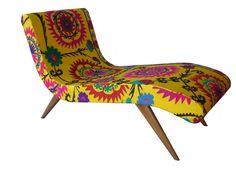 chaise long exclusiva - lindo tecido indiano estampado                                                                                                                                                                                 Mais
