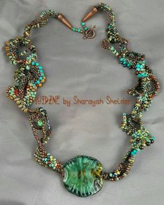 DNA SPIRAL Freeform peyote necklace Borosilicite glass by 4uidzne