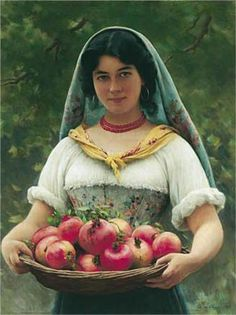 Girl with Pomegranates - Eugene de Blaas