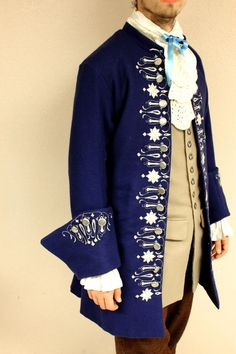 18th Century Hand Embroidered Coat, Jacket, Justacorps - Reproduction/costume piece this might be, but I can imagine Charles having a similar coat for more formal occasions.