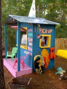 every farm boy needs a backyard shack...maybe a roadside produce selling shack rather than a surf shop!