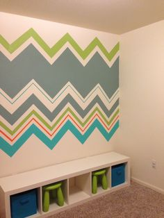 Chevron playroom wall/place to store stools Chevron Curtains, Ikea Stool, Chevron Patterns, Toy Rooms, Playrooms, Playroom Ideas, Toy Storage, Colorful Decor, Wall Colors