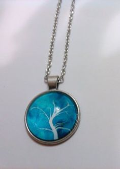 VIntageTree of Life Cabochon Tibetan silver Glass Chain Pendant Necklace