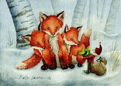 Foxes and a Brownie Winter Fairy, Fox Art, Illustration Artists, Illustrations, Christmas Illustration, Winter Solstice, Christmas Elf, Stars And Moon, Paper Art
