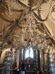 The Bone Church (Sedlec Ossuary) in Prague. Supposedly, this chandelier contains at least one of every bone in the human body.