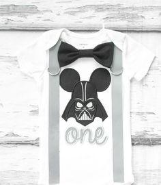 Baby first birthday Darth Vader Star wars themed cake smash outfit boy Mickey Mouse 1st birthday one year bow tie onesie  boy birthday shirt by LoveAndLollipopsBaby on Etsy
