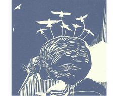 Relief print of kiwi bird by poofy dove on etsy.