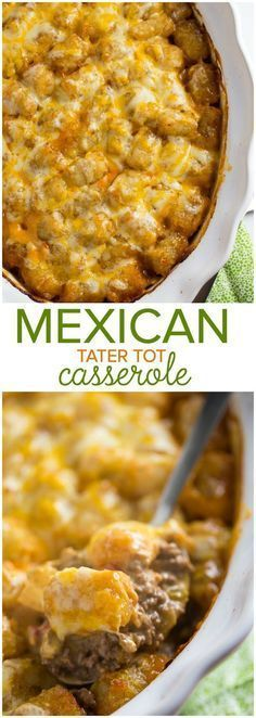 Mexican Tater Tot Casserole - This easy casserole recipe was a hit with my family! It was spicy, hearty and tasty. Comfort food for the win. Mexican Food Menu, Mexican Dishes, Mexican Food Recipes, Crockpot Recipes, Cooking Recipes, Hotdish Recipes, Easy Casserole Recipes, Casserole Dishes, Good Food