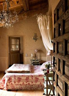 Bohemian romantic bedroom, canopy bed