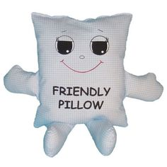 """This smiling face soft pillow makes a great bedtime pal for any child. It is approximately 13"""" wide by 15"""" tall and is filled with non-allergenic 100% polyester. It is washable and made in the USA."""